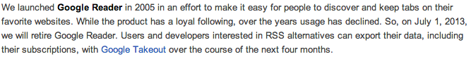 Google Reader 廃止に伴う記事の変更について(予定)