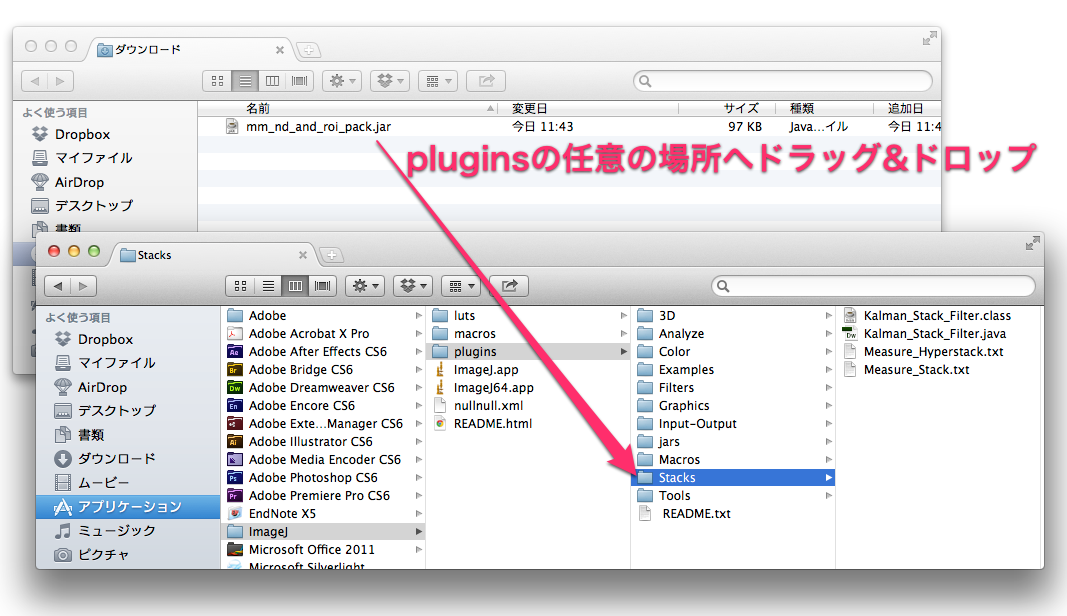 imageJにプラグインを導入する
